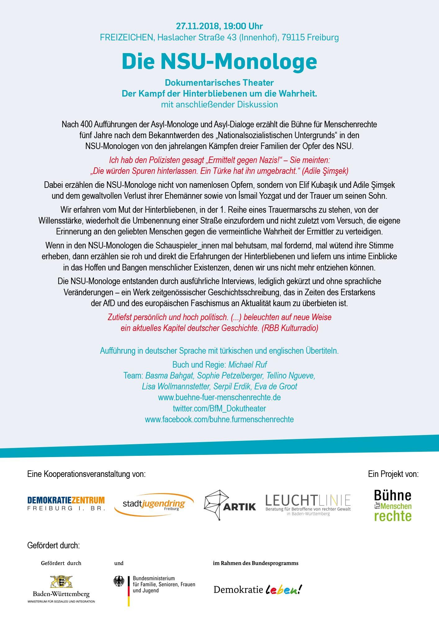 Die NSU Monologe – Dokumentarisches Theater der Bühne für Menschenrechte || 27.11.18